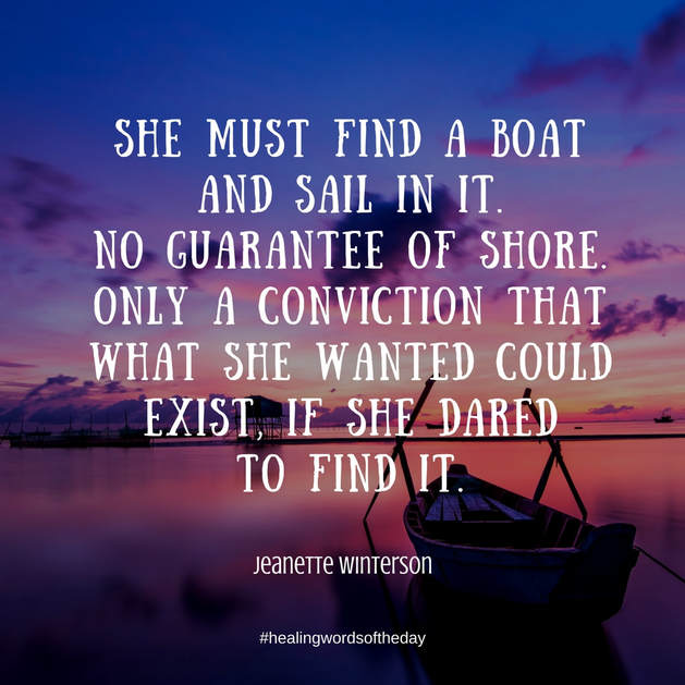 She must find a boat and sail in it...